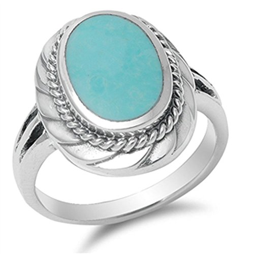Bali Rope Design Simulated Turquoise Unique Ring New .925 Sterling Silver Band Size 8