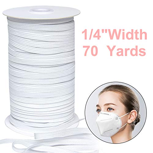 Elastic Bands for Sewing 1/4 inch, 70 Yards TOOVREN Elastic String for Masks, Flat Knit Elastic Cord Heavy Stretch High Elasticity Strap Earloop for DIY Crafts Mask Making Supplies - White.