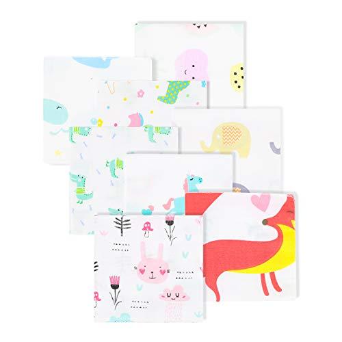 Newborn Washcloths Soft Muslin Baby Girl Washcloths Reusable Baby Wipes 8 Packs