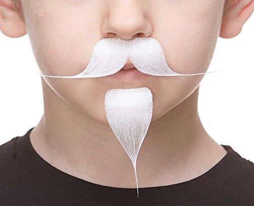 Mustaches Self Adhesive Colonel Sanders Fake Mustache Handlebar with a Goatee, White -
