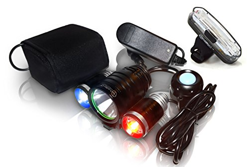 PS1200v2 Front & Rear Police Bike Light Set: 1200 Lumens - Rechargeable 18hr Max - Water Proof - 5 Modes - Red / Blue Strobe LED - Real Police Patrol Lights For Bicycles