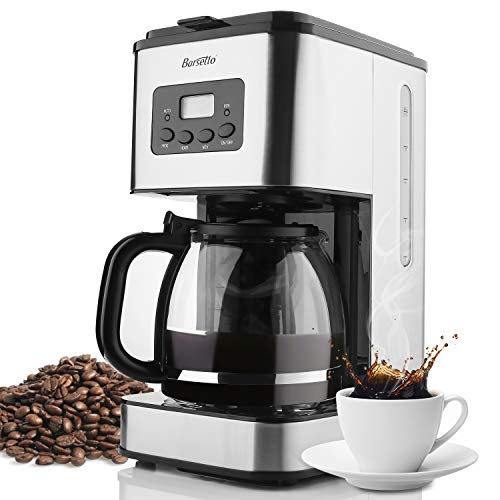 Coffee Maker Barsetto 10 Cup Coffee Machine Stainless Programmable Setting Silent Operation Drip Coffeemaker with Coffee Pot and Filter for Home and Office (Silver)