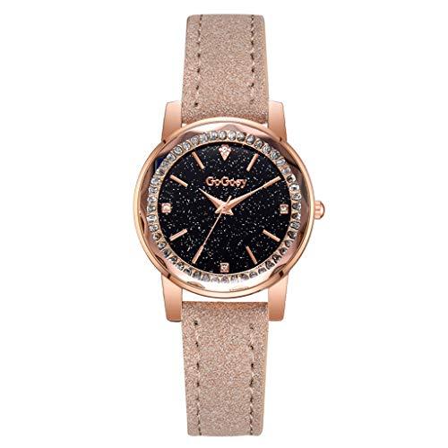 Garish ❤️❤️ Women's Simple Stripe Print Dial Watch,Fashion Student Sport Quartz Watch,Women Watches with Mosaic Crystal Beige ()