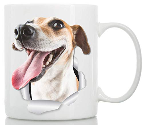 Happy Jack Russell Coffee Mug - Ceramic Jack Russell Terrier Mug - Perfect Dog Lover Gift - Cute Novelty Coffee Mug Present - Great Birthday or Christmas Surprise for Friend or Coworker (11oz)