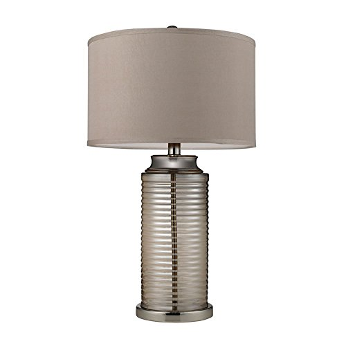 Dimond Lighting D2319 Midland 1-Light Amber Plated Ribbed Glass Contemporary Table Lamp, 17 by 30-Inch, Polished Nickel Finish