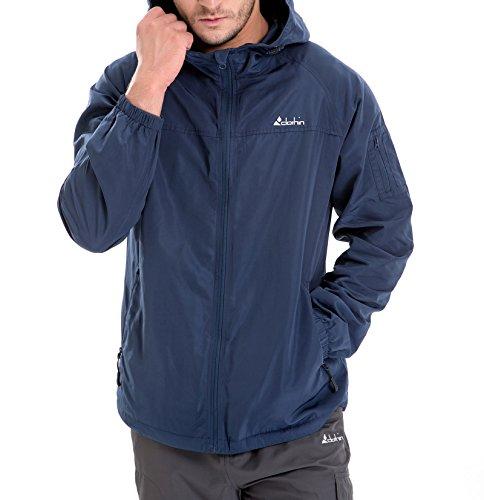 Clothin Men's 6-Pocket Hooded Zip-Up Windbreaker Travel Jacket, Water and Wind-Resistant