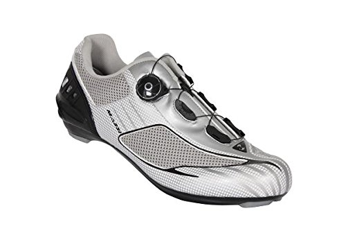 Massi Aria - Unisex road cycling shoes, grey/neon yellow colour, size 44 COLOR: PLATINUM