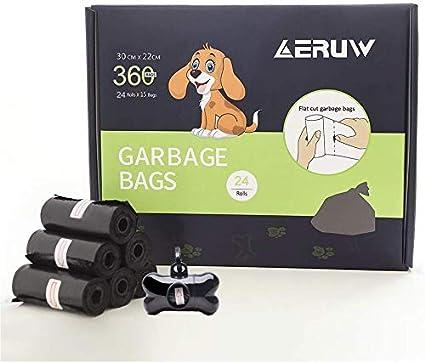 ERUW Bolsas Caca Perro, Bolsas para excrementos de Perro, Dispensador Bolsas Perro Biodegradables, Poop Bag para Mascotas Domésticos de 24 Rollos, ...