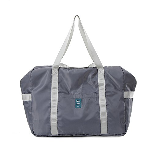 Foldable Nylon Waterproof beach bags and totes Large Capacity Gym Carry on travel Tote Bag By Lucien Hanna Gray