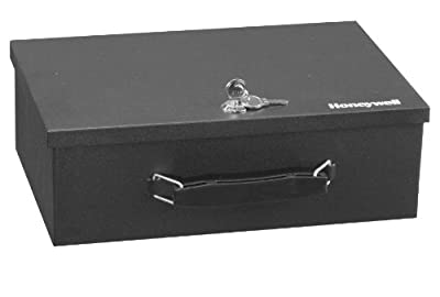 Honeywell 6104 Fire Resistant Steel Security Safe Box with Key Lock, 0.17-Cubic Feet, Black