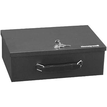 Honeywell 6104 Fireproof Steel Security Safe Box with Key Lock, 0.17-Cubic Feet, Black
