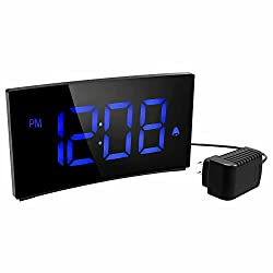 PICTEK Alarm Clock, Kids Digital Alarm Clock 5 inch Dimmable Curved LED Screen Time Clock for Bedrooms Desk Living Room, Snooze Function, 12/24 Hour, Battery Backup, USB Charger, Power Adapter, Blue
