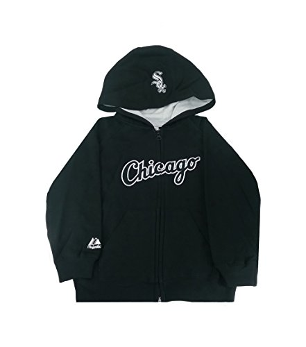 Majestic Kid's MLB Hooded Sweatshirt Chicago White Sox Boy's Black Jacket (7 Kid's)