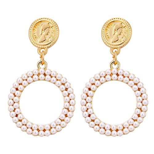 Peigen Large Hoop Dangle Earring White Pearl Earring with Stainless Steel Pin Circle Loop Earrings for Women Girls Jewelry