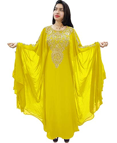 African Boutique Dubai Kaftan for Women Beads Work Maxi Dress Gown Formal Chiffon African Wear Yellow by African Boutique (Image #4)