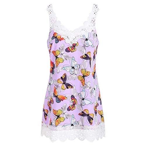Tank Tops for Women Plus Size Hosamtel Butterfly Print Lace Patchwork V-Neck Loose Fit Casual T-Shirt Blouse Vest Tops (Butterfly Bustier)