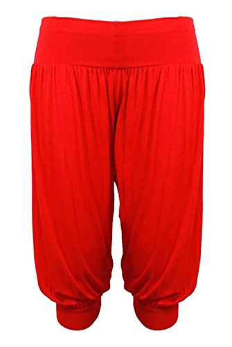 Legging Fancy 4 Ladies Harem S larghi Womens Islander XXXL Pantaloni Baba 3 Ali Fashions Cropped Red Pantaloni vTWq7