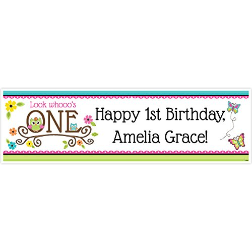 Owl 1st Birthday 5 Ft. Large Personalized -