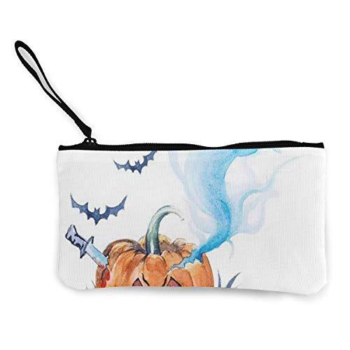 Coin Purse Watercolor Painting Halloween Evil Smiling Men Zip Canvas Wallet TravelInspiring Bag ()