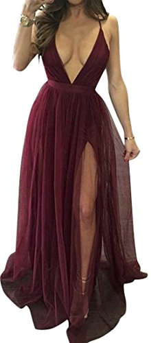 Party Back V Mesh Women's Sexy Slit Beach Dresses Wine Red Deep Cromoncent Strap Open Neck Spaghetti Maxi UXACUwq7