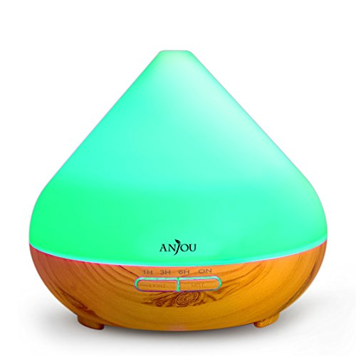 - Essential Oil Diffuser 300ml Anjou Aromatherapy Diffuser, Ultrasonic Cool Mist Humidifier for Office, Home Decor Gift, Up to 8H Use, Waterless Auto Shut-Off, 7 Color LED Lights, Wood Grain, BPA-Free