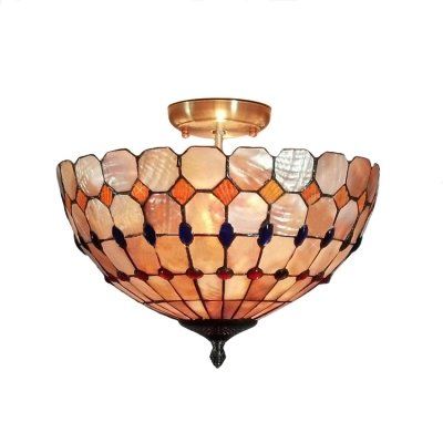 hua Exquisite and Colorful Beadings Accented Two Lights Tiffany Semi Flush Mount Ceiling ()