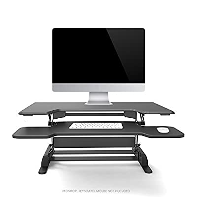 """Logix Gear 36"""" Height Adjustable Standing Desk   Black, 6 Level Converter   Go from Sit to Stand at Your Desktop or Laptop   Stand Up Desk Riser Space for Monitor Keyboard at Your Workstation"""