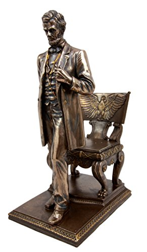 """Atlantic Collectibles America's 16th President Abraham Lincoln Standing By Eagle Chair of State Figurine 9""""H"""