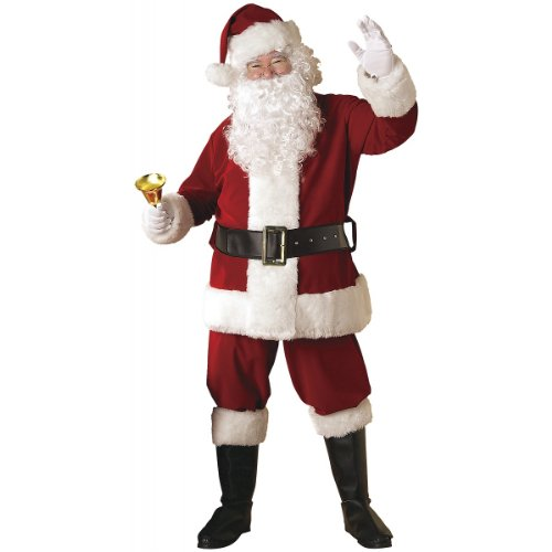 Rubie's 8-Piece Deluxe Velvet Santa Suit With Wig And Beard, Red/White, Standard (Deluxe Santa Suits)