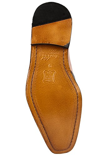 Liberty Fortune Handmade Mens Classic Wing-Tip 3 button Monkstrap Dress shoe (9, Tan)