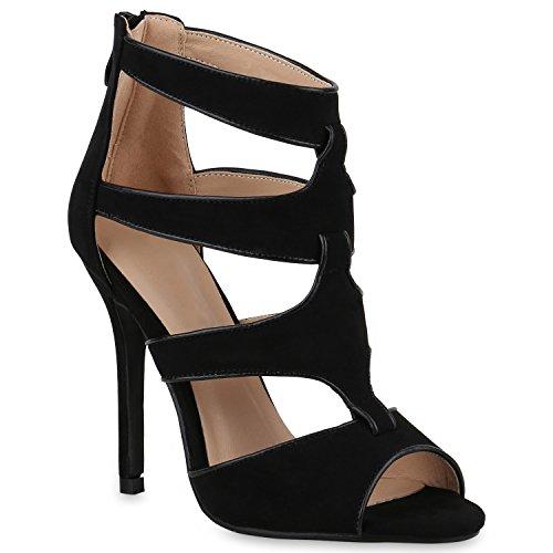 Stiefelparadies Elegante Damen Sandaletten Stiletto High Heels Samt-Optik Party Schuhe Riemchensandaletten Glitzer Metallic Brautschuhe Flandell Schwarz Brooklyn