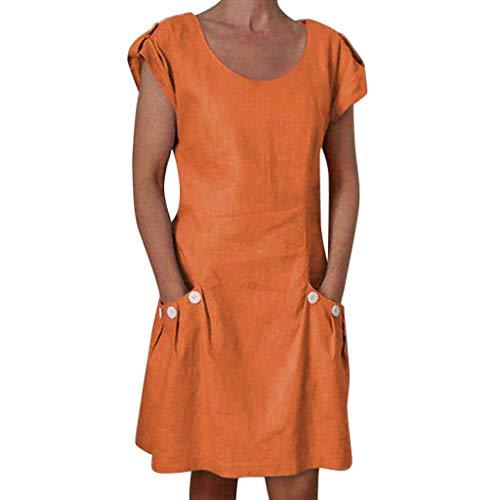 Sagton Summer Dresses for Women Ruffled Buttoned Solid Dresses (Orange,M)