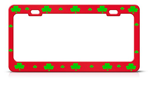 (Shamrock Lucky Irish Red Heavy Duty Metal Irish License Plate Frame for Home/Man Cave Decor by PrMch )