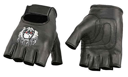 - Milwaukee Leather Men's Premium Skull & Flame Fingerless Gloves SH351 (XL)