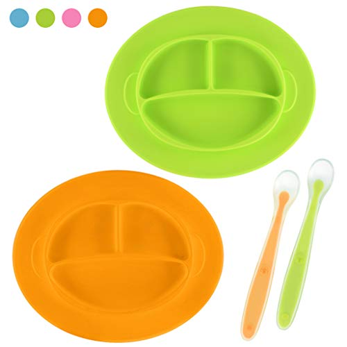 (Best Baby Silicone Plate - Mini Plate - Toddler Plate for Self Feeding - First Years Mini Mat - Divided Plate BPA Free, Dishwasher Safe - Includes Silicone Spoon)