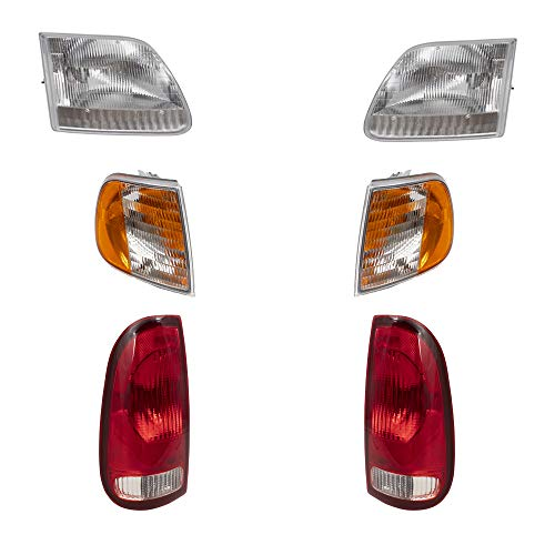 6 Piece Set Headlights, Tail Lamps w/Park Signal Corner Marker Lamps Replacement for Ford F150 F250 Pickup Truck