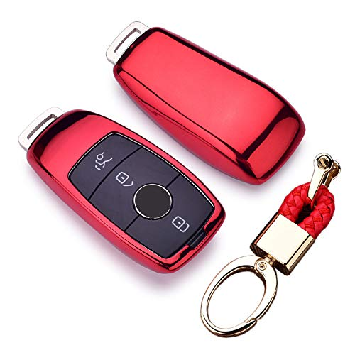 Royalfox(TM) Luxury 3 Buttons Soft TPU Smart Key Fob case Cover for Mercedes-Benz E-Class(2017-up) E200 E300 E350 E400 E63,S-Class(2018-up) S450 S550e S560 S63 S65,W213 (red)