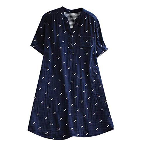 Respctful✿Women's Plus Size Floral Print Short Sleeve Blouse Top Cotton Casual V Neck Summer T Shirts S-5Xl Blue ()