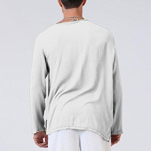 6c46de7f4 ... haoricu Mens Summer Long Sleeve T-Shirt Cotton Linen Shirt V-Neck Sport  Yoga ...