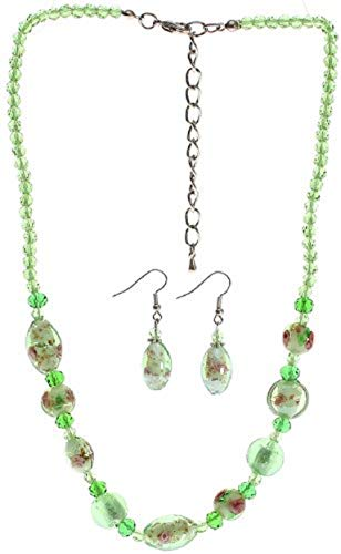 Lova Jewelry Mint Murano Glass Necklace and Earrings -
