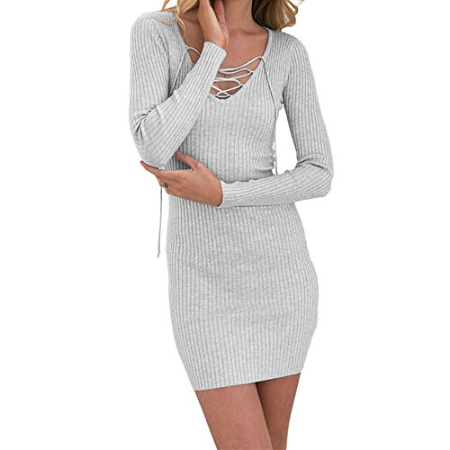 SEBOWEL Women's Lace Up V Neck Long Sleeve Rib Knit Dress Pullover Sweater