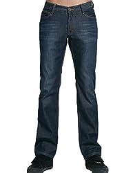 SSLR Men's Straight Fit Fleece Jean (30, Black Blue)
