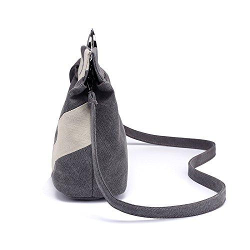 de diseño para Bolso Mujer BISSER Girl Lona con Negro Rayas gris de 0FO8gnqw