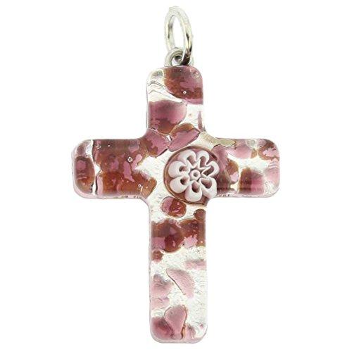 Glass Purple Cross - GlassOfVenice Murano Glass Venetian Reflections Cross Pendant - Purple Silver