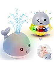 Bath Toys, Children's Water Spray Toys, Bathtub Toys, sprinklers, Cute Baby Shiny Bath Toys, Luminous Bathtub Toys, 2 in 1 Automatic Induction Water Spray Toys and Space Flying Saucer Toys, (Gray)