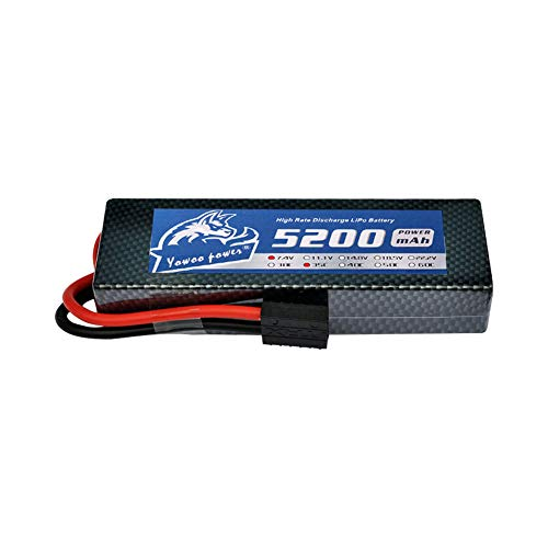YOWOO 2S Lipo Battery 5200mAh 35C 7.4V RC Lipo Batteries Hardcase with Traxxas Plug for RC Car Truck Buggy Drone RC Airplane Helicopter Quadcopter DIY RC Toys (5200mAh TRX) ()