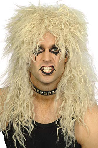 Smiffys Men's Hard Rocker Crazy Long Blonde Wig, One Size, -