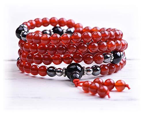 TamLyn Concepts Mala Beads Necklace - Yoga Jewelry - Buddha Bracelet - Meditation Beads - Tassel Necklace - Prayer Beads (Carnelian)