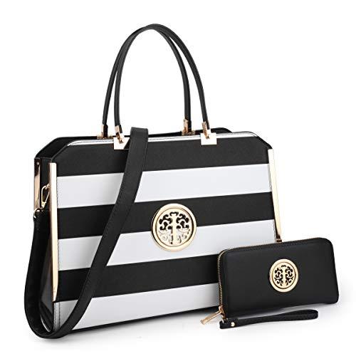 Fashion Women's Handbags Vegan Leather Satchel Purse Shoulder Bag Wallet 2Pcs(02-6900-W-BK/WT) ()