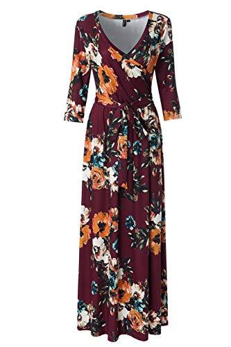 Zattcas Womens 3/4 Sleeve Floral Print Faux Wrap Long Maxi Dress with Belt,Wine Multi,X-Large